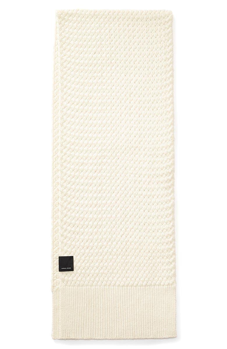 CANADA GOOSE Basket Weave Merino Wool Scarf, Main, color, IVORY
