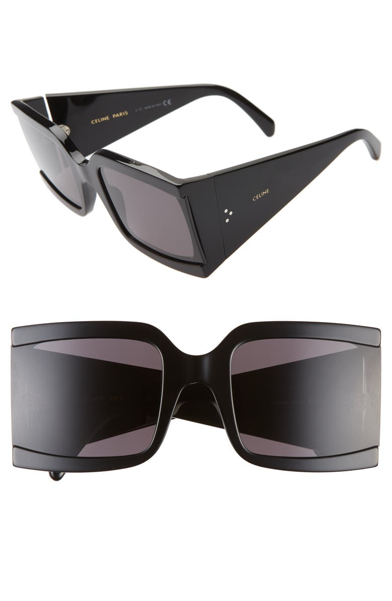 CELINE 60mm Square Sunglasses, Main, color, SHINY BLACK/ SMOKE