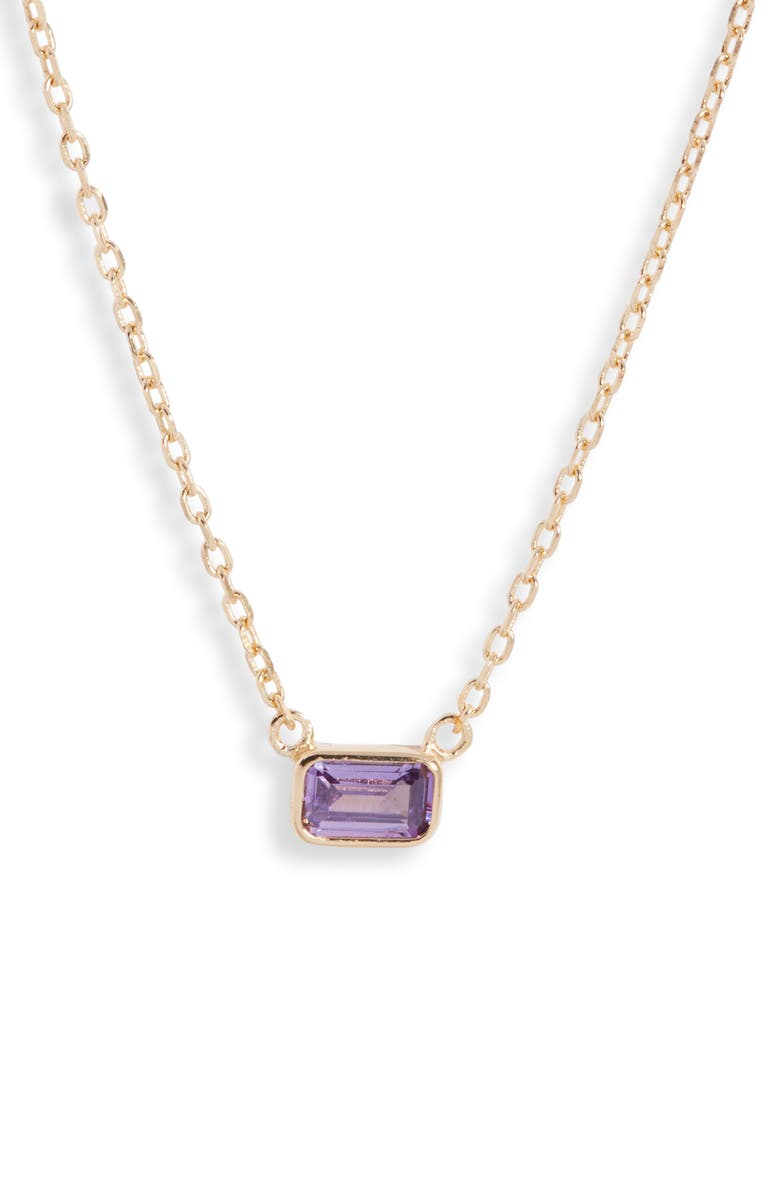 NORDSTROM Sterling Silver Cubic Zirconia Delicate Birthstone Pendant Necklace, Main, color, FEBRUARY- PURPLE- GOLD