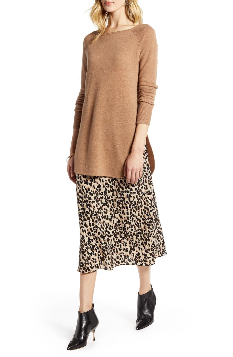 HALOGEN<SUP>®</SUP> Shirttail Wool & Cashmere Boatneck Tunic, Main, color, CAMEL