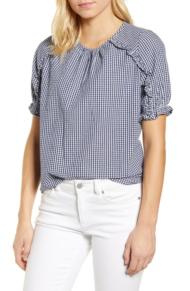LUCKY BRAND Lauren Gingham Ruffle Cotton Top, Main, color, NAVY MULTI