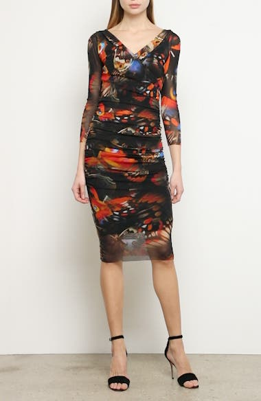 Butterfly Print Ruched Dress, video thumbnail