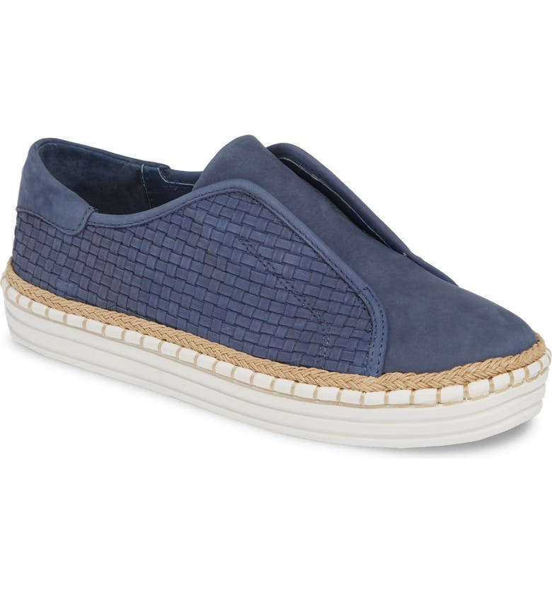 JSLIDES Kayla Slip-On Sneaker, Main, color, DENIM NUBUCK LEATHER