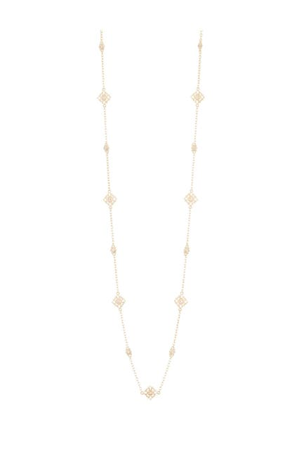 """Image of Judith Ripka 14K Gold Plated Sterling Silver Pink CZ Embellished Petite Station Chain 36"""" Necklace"""