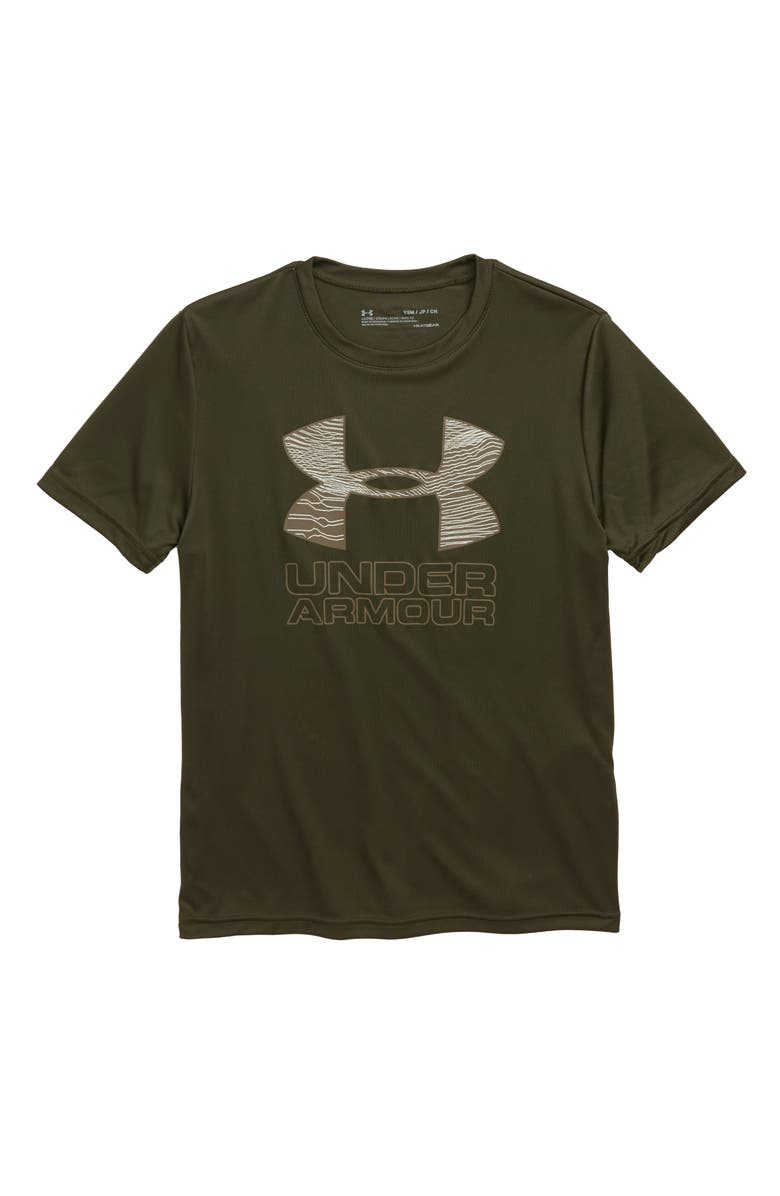 UNDER ARMOUR Logo HeatGear<sup>®</sup> T-Shirt, Main, color, GUARDIAN GREEN/ BUTTER WHITE