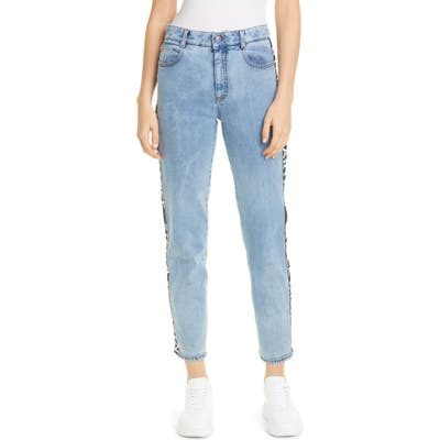 Stella Mccartney Logo Stripe Straight Leg Jeans, Blue