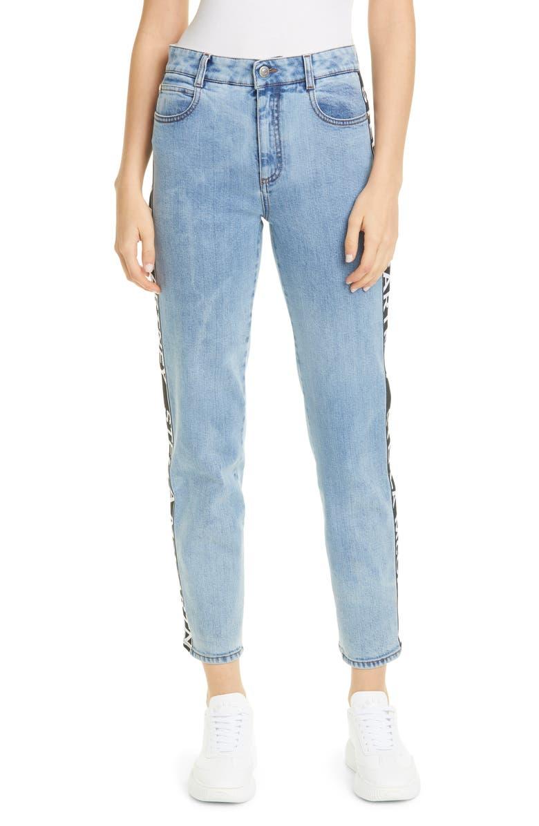 STELLA MCCARTNEY Logo Stripe Straight Leg Jeans, Main, color, RETRO BLUE