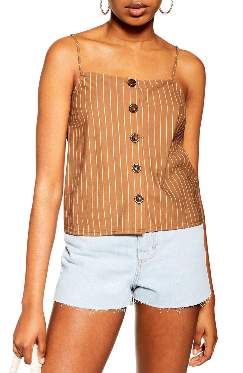 TOPSHOP Stripe Button Bow Back Camisole, Main, color, BROWN
