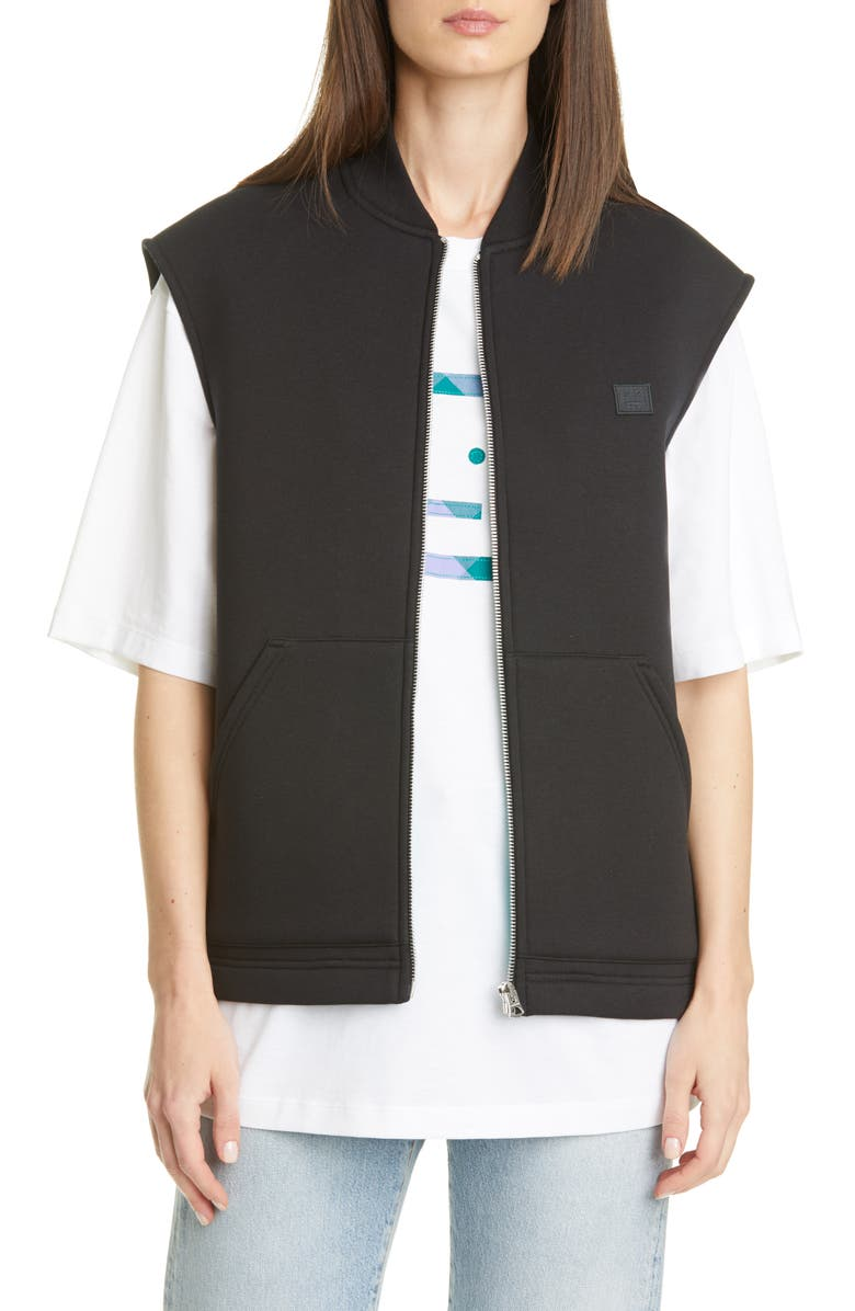 ACNE STUDIOS Foley Face Patch Fleece Vest, Main, color, BLACK