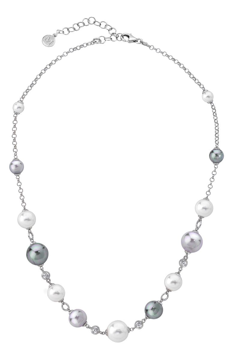 MAJORICA Simulated Pearl & Cubic Zirconia Necklace, Main, color, 040