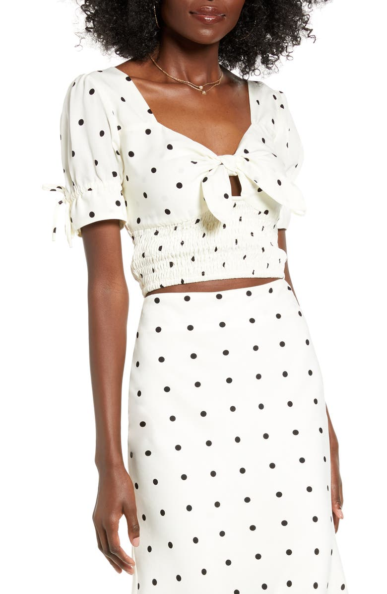 4SI3NNA Mallory Tie Neck Crop Top, Main, color, IVORY POLKA DOT