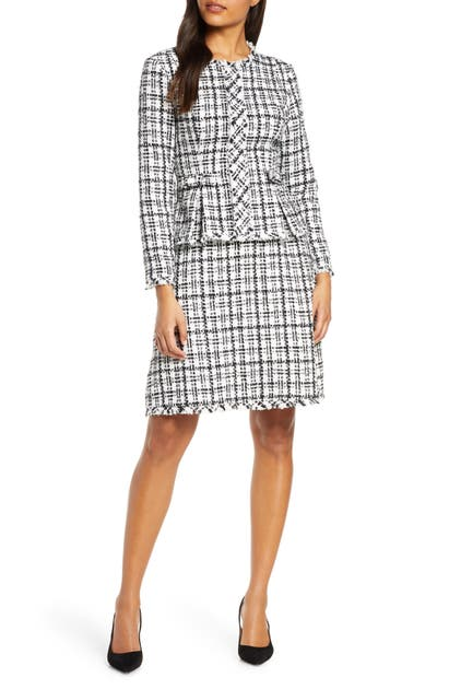 Julia Jordan Dresses CHECK LONG SLEEVE PEPLUM TWEED DRESS