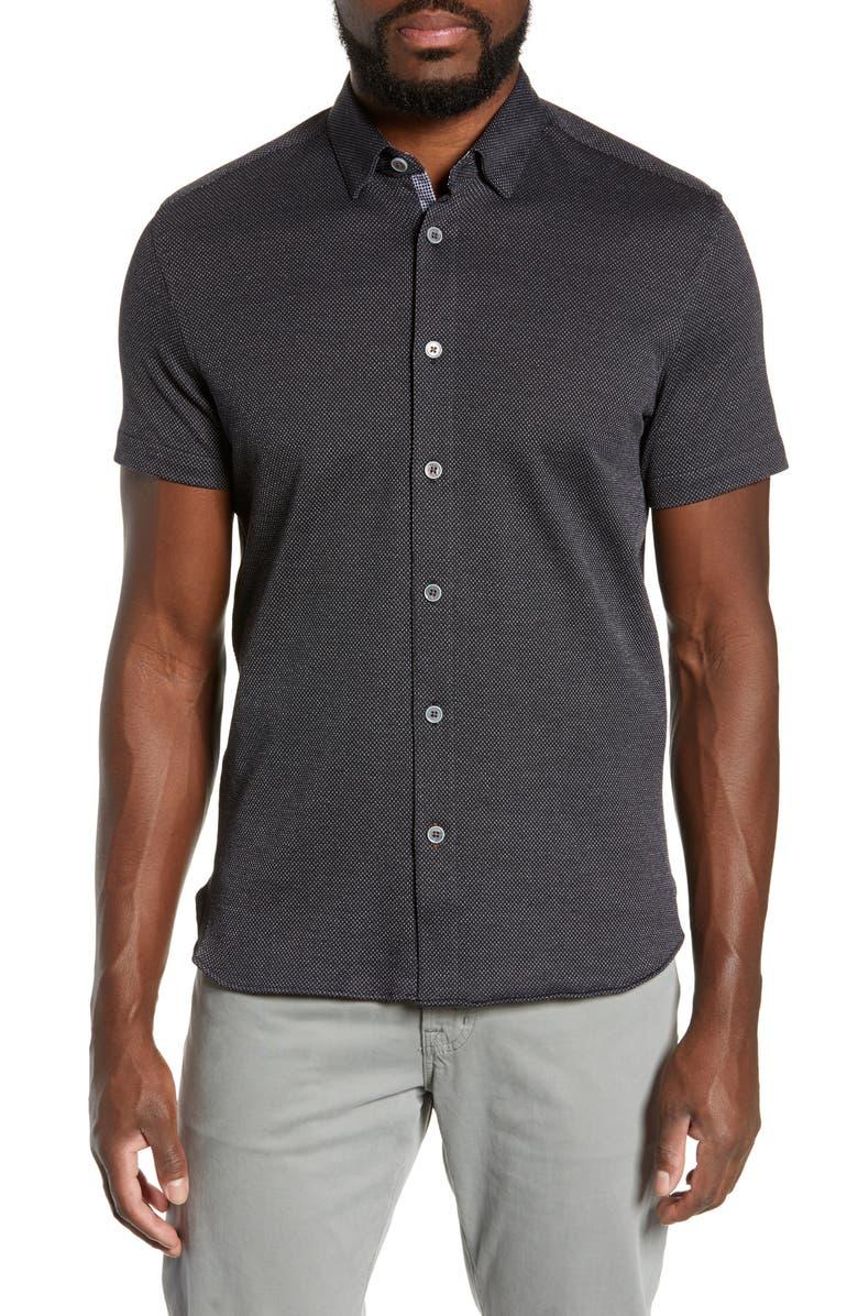 TED BAKER LONDON Waterco Slim Fit Short Sleeve Shirt, Main, color, BLACK