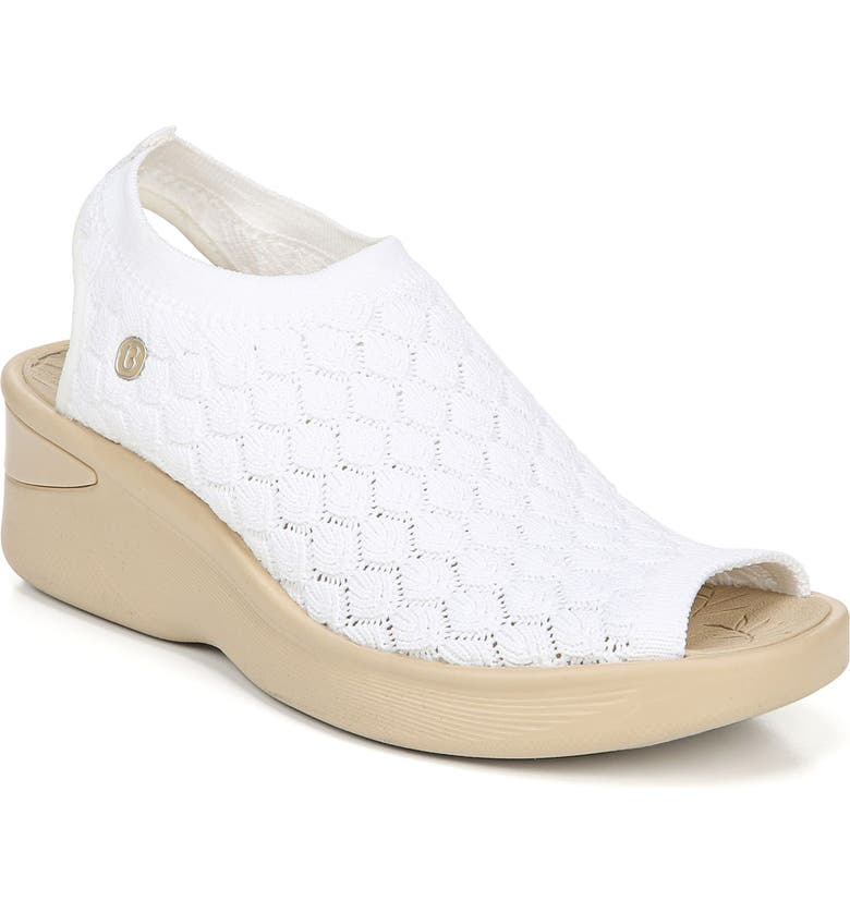 BZEES Secret Peep Toe Knit Sneaker, Main, color, WHITE CROCHET FABRIC