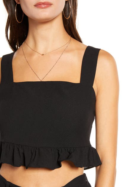 English Factory Square Neck Ruffle Crop Top In Black