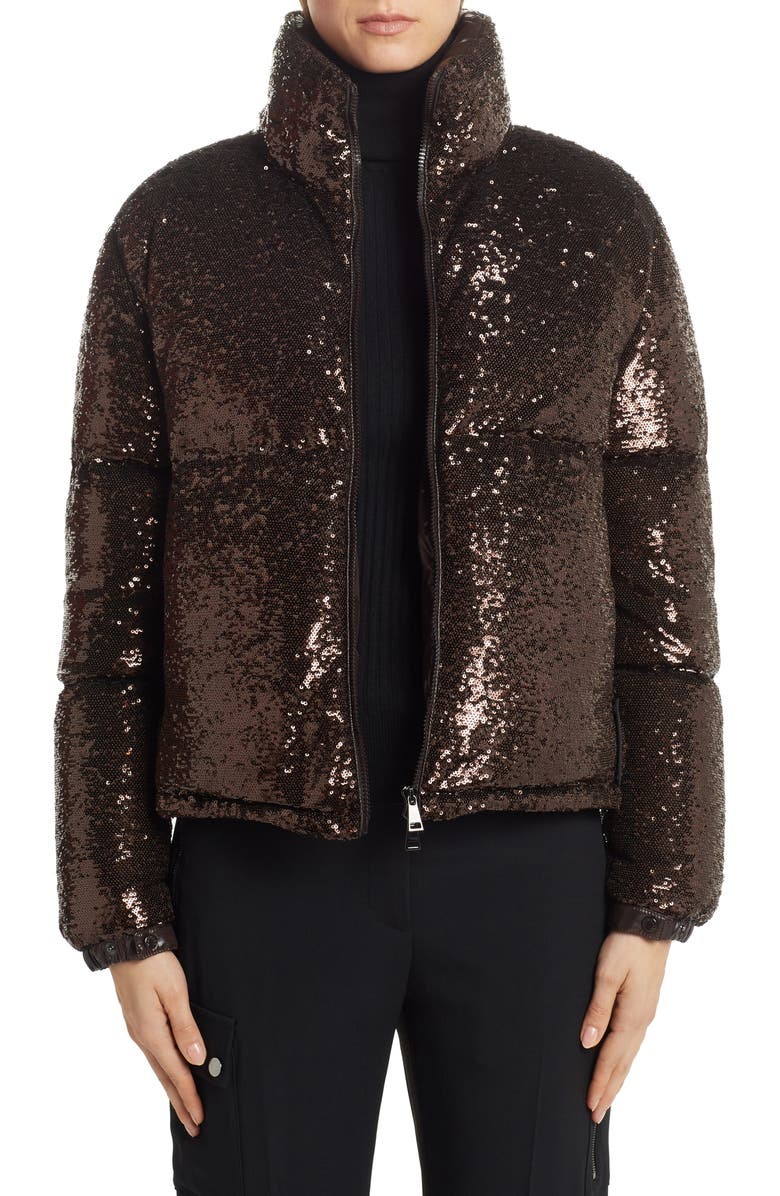 MONCLER Rimac Sequin Quilted Down Puffer Jacket, Main, color, BROWN