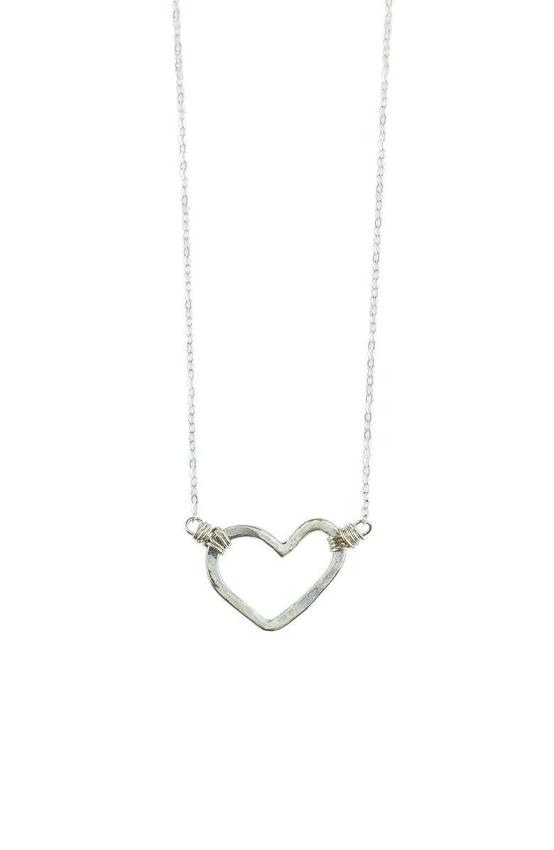 NASHELLE Open Heart Necklace, Main, color, SILVER