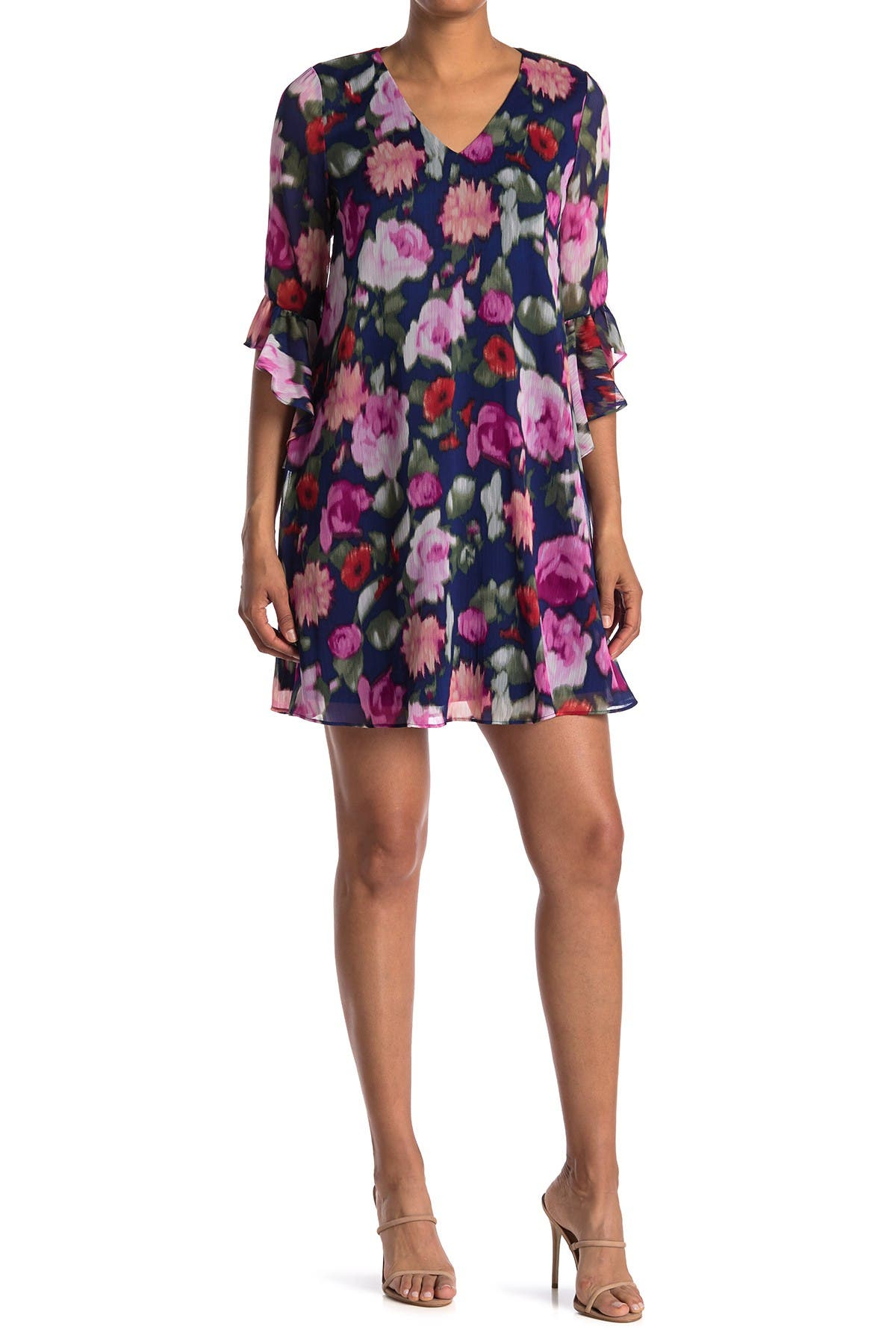 Image of Calvin Klein Ruffle Sleeve A-Line Floral Dress