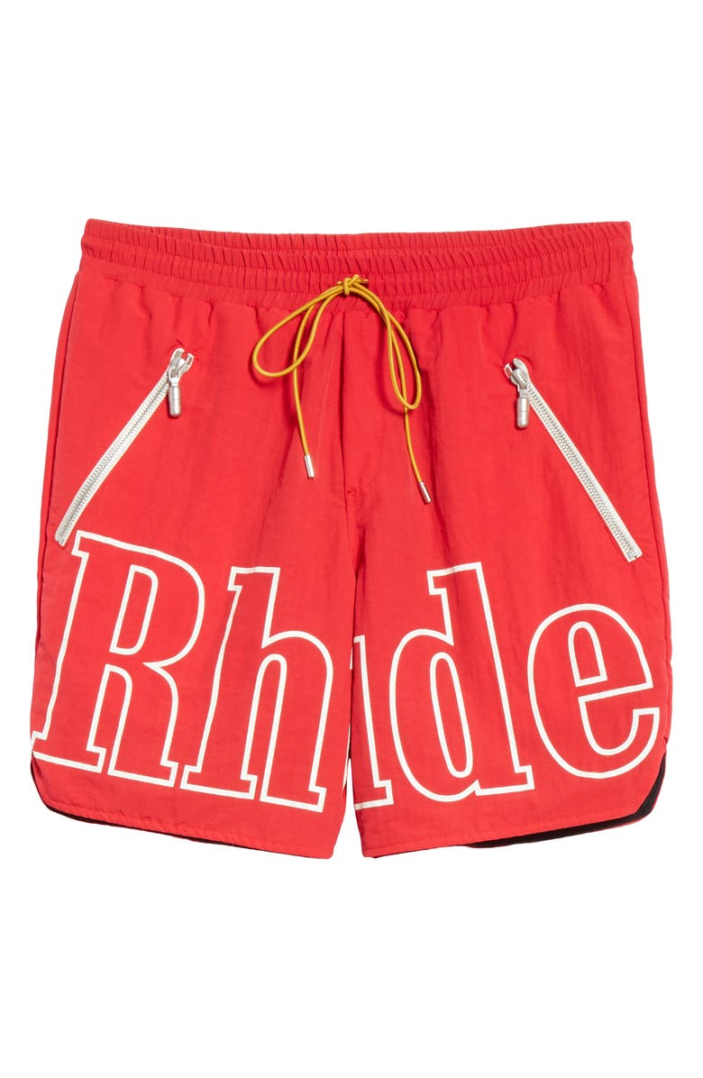 RHUDE Logo Swim Trunks, Main, color, RED/ WHITE