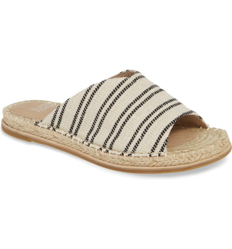 EILEEN FISHER Milly Espadrille Slide Sandal, Main, color, NATURAL/BLACK FABRIC