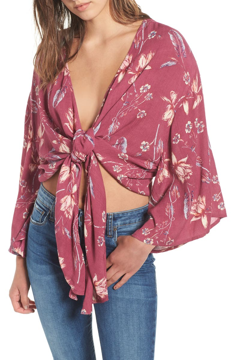 BILLABONG Sometimes Yours Knot Front Top, Main, color, 930