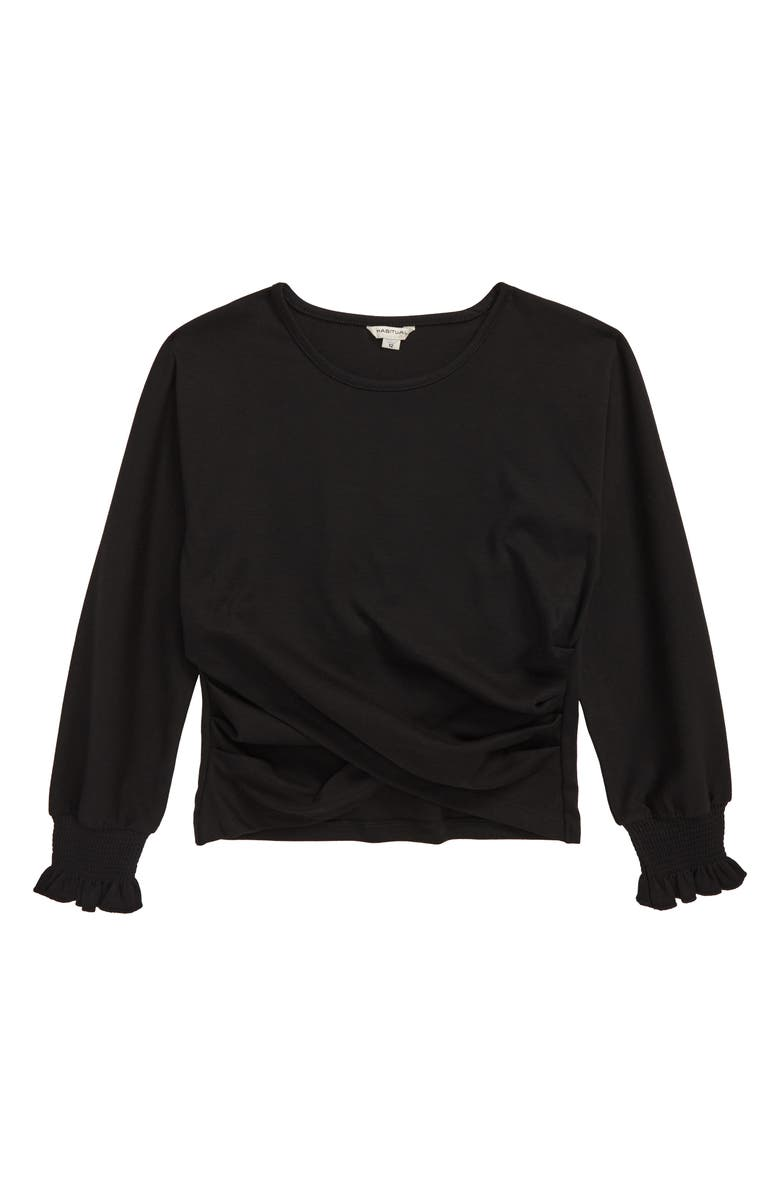 HABITUAL Catherine Overlap Long Sleeve Top, Main, color, BLACK
