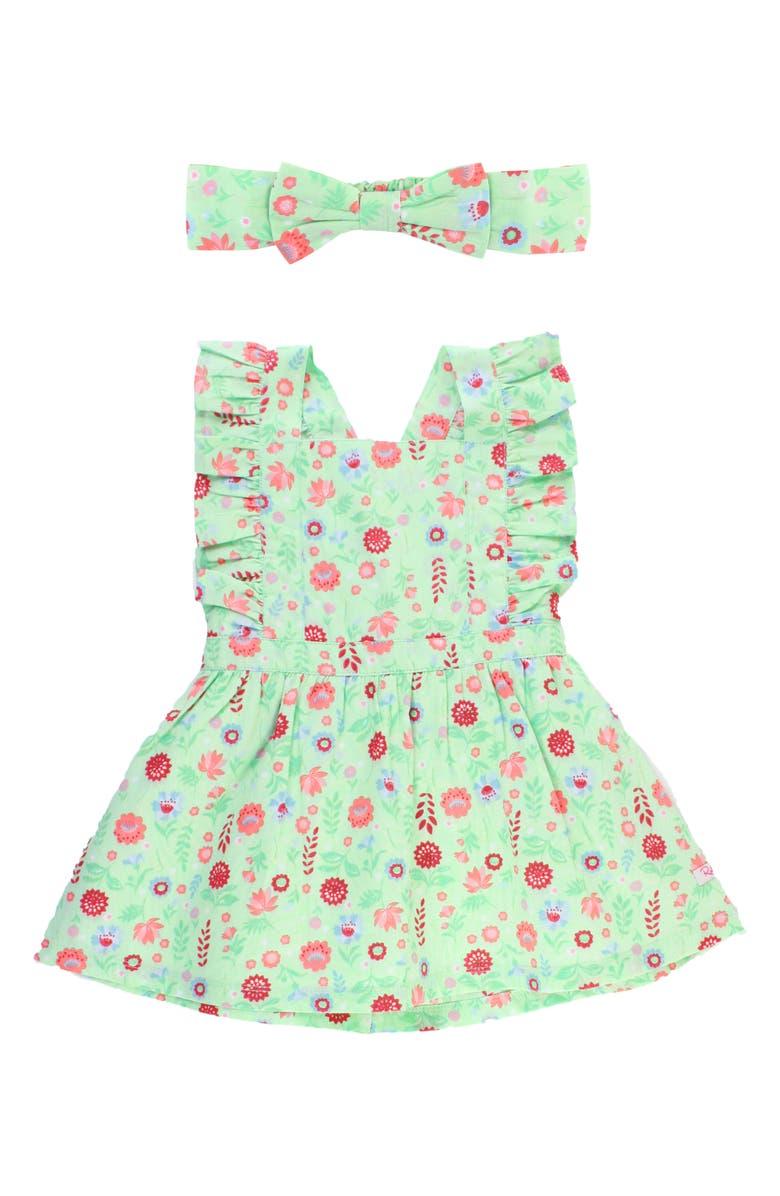 RUFFLEBUTTS Darling Dahlias Dress & Headband Set, Main, color, GREEN