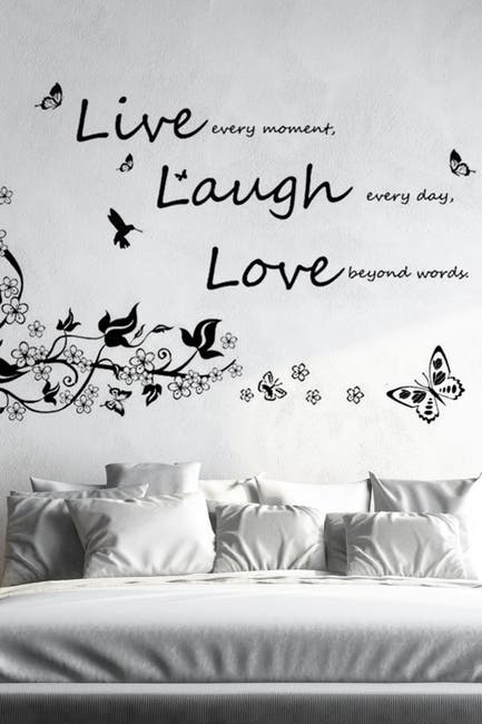 Image of WalPlus Butterfly Vine & Vivid Live Laugh Decal