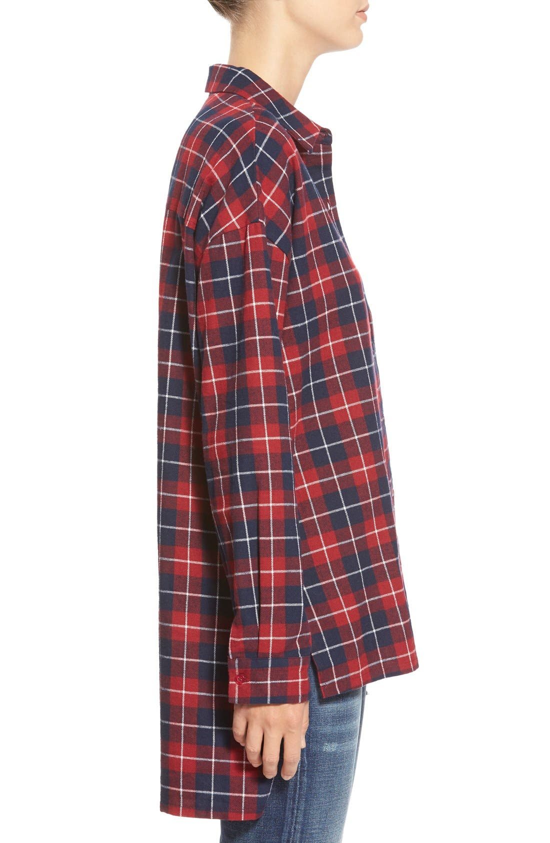 ,                             Oversize Plaid Button Front Shirt,                             Alternate thumbnail 3, color,                             600