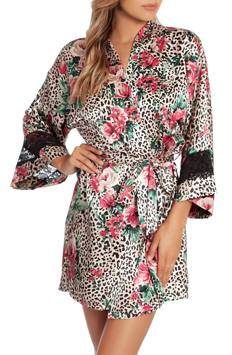 IN BLOOM BY JONQUIL Floral Print Satin Wrap, Main, color, NATURAL/ BLACK