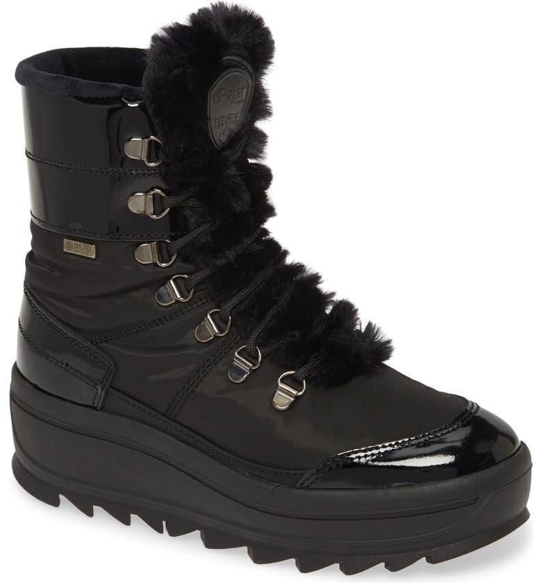 PAJAR Taian Faux Fur Trim Waterproof Insulated Boot, Main, color, BLACK