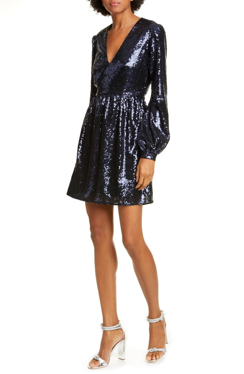 SALONI Camille Sequin Long Sleeve Minidress, Main, color, NAVY-04