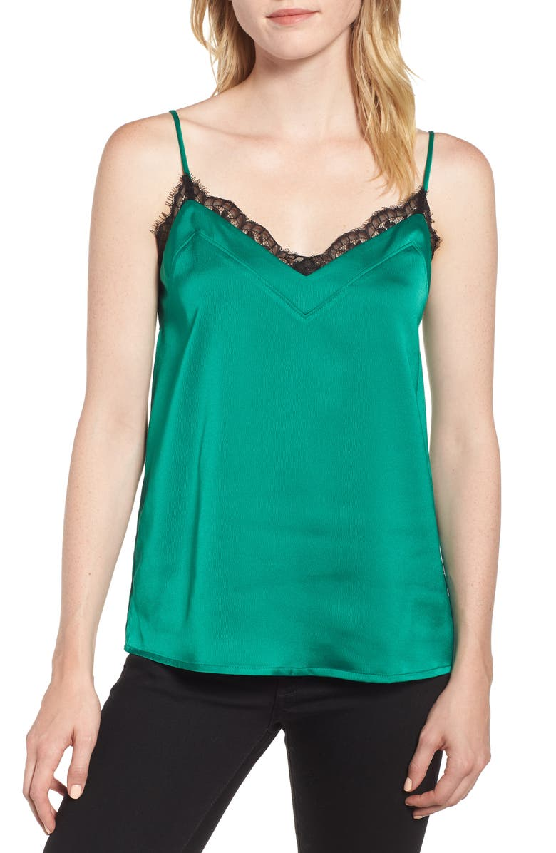 GIBSON Lace Trim Camisole, Main, color, EMERALD