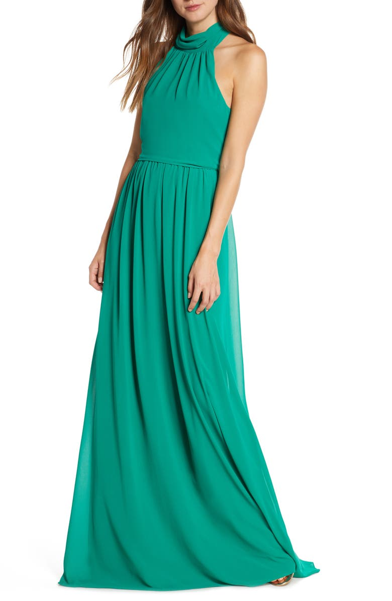 MARK + JAMES BY BADGLEY MISCHKA Mock Neck Maxi Dress, Main, color, EMERALD