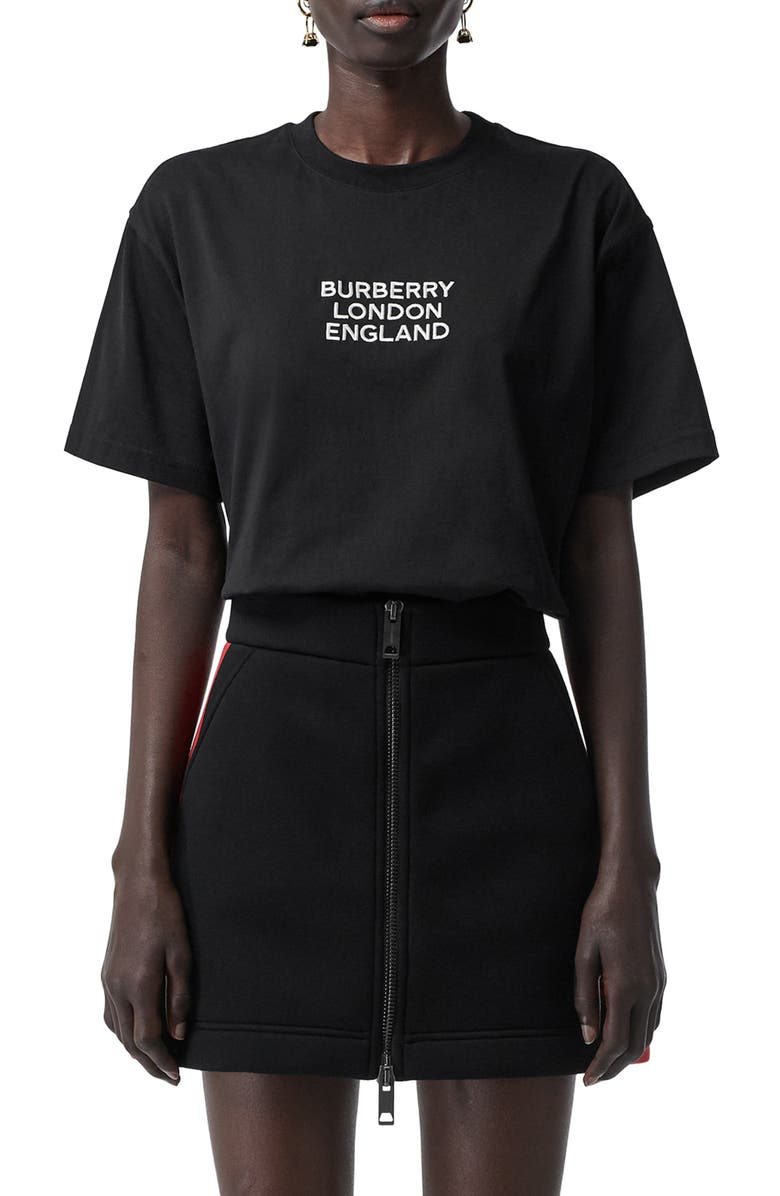 BURBERRY Carrick Logo Embroidered Tee, Main, color, BLACK