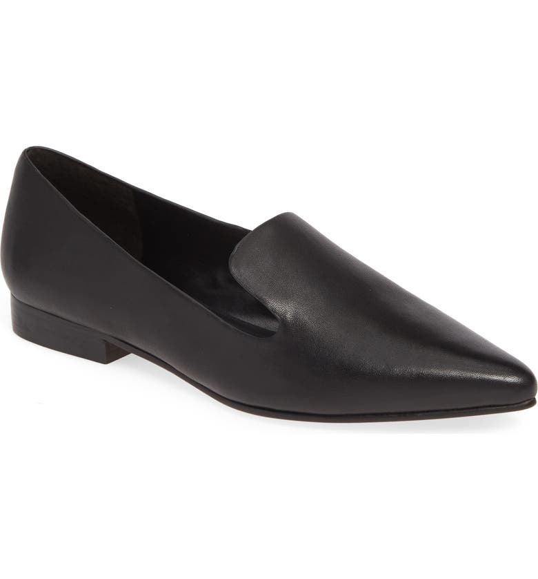 SOLE SOCIETY Kapa Asymmetrical Loafer, Main, color, BLACK LEATHER