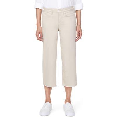 Nydj Wide Leg Fray Hem Capri Jeans, Beige