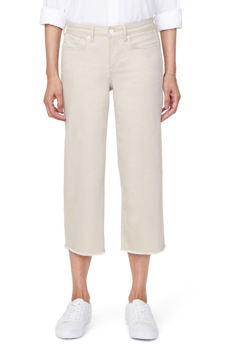 NYDJ Wide Leg Fray Hem Capri Jeans, Main, color, FEATHER