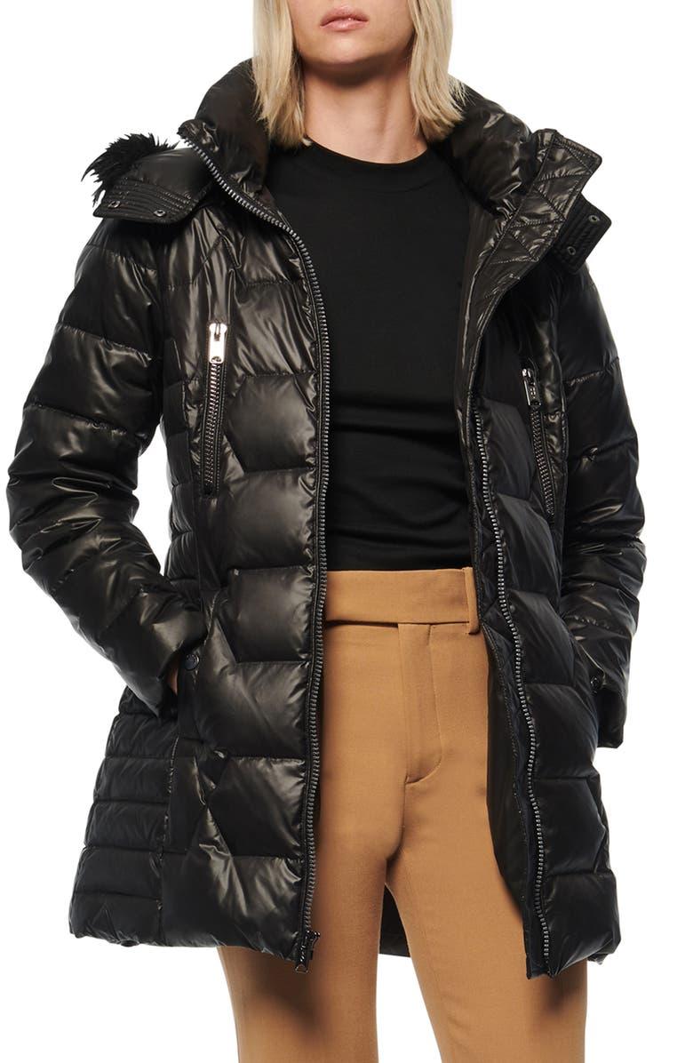 MARC NEW YORK Pomona Faux Fur Trim Down Puffer Jacket, Main, color, BLACK