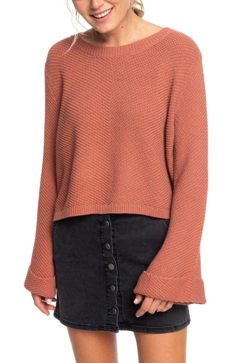 ROXY Sorrento Shades Bell Sleeve Sweater, Main, color, CEDAR WOOD