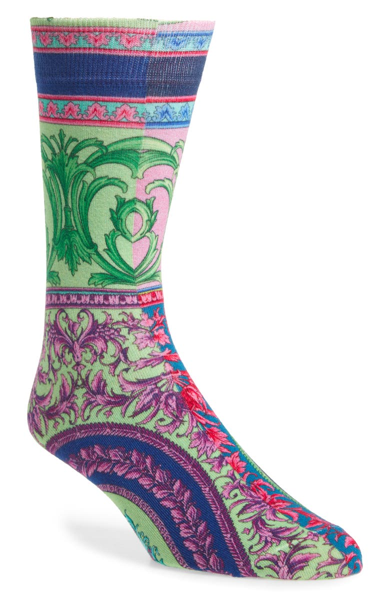 VERSACE Baroque Socks, Main, color, FUXIA-BABY BLUE
