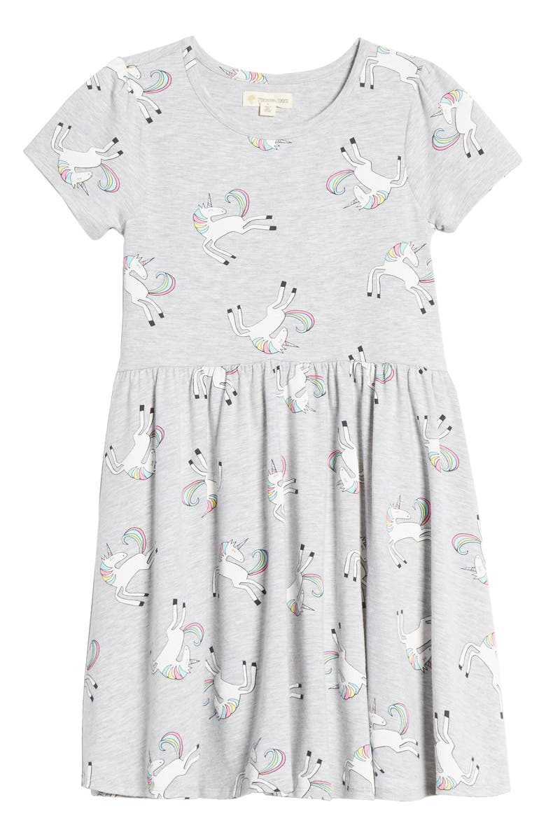 TUCKER + TATE Print Short Sleeve Dress, Main, color, GREY ASH HEATHER UNICORNS