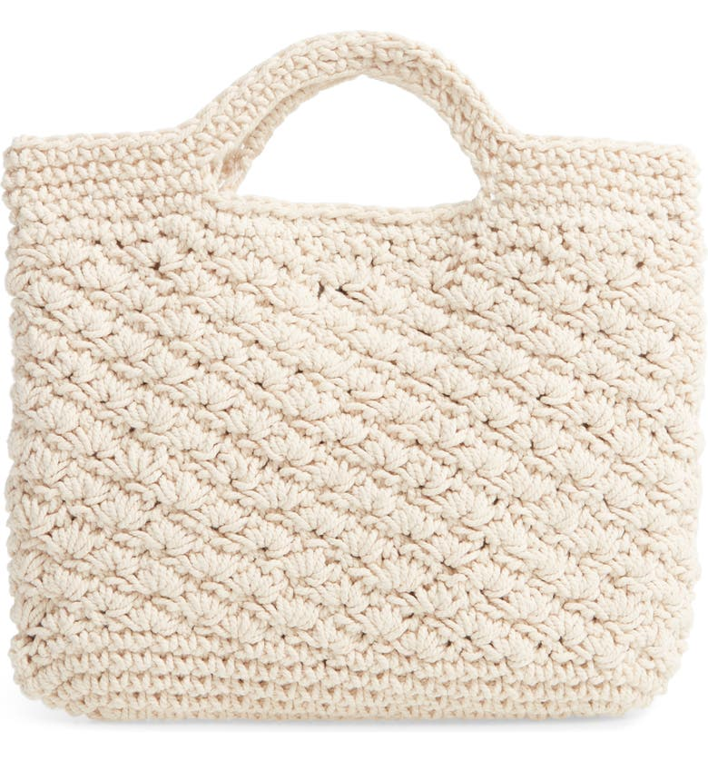 MALIBU SKYE Woven Cotton Tote, Main, color, NATURAL
