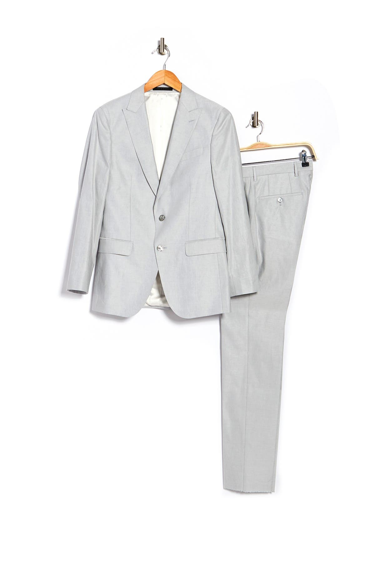 Image of BOSS Solid Notch Collar Linen Blend Jacket & Pants Suit Set