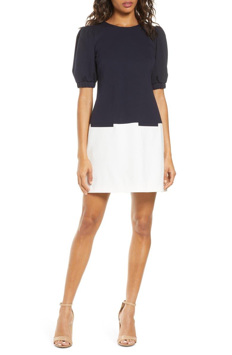 ELIZA J Colorblock Shift Dress, Main, color, NAVY/ IVORY