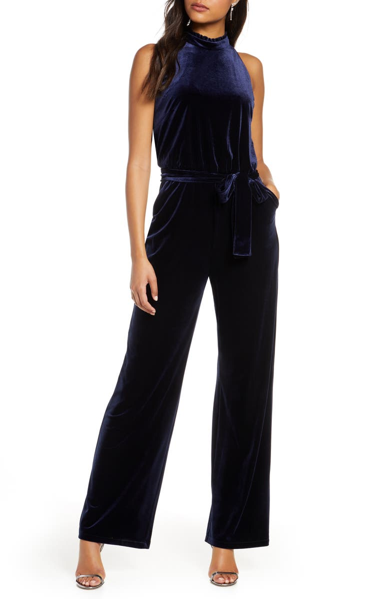 VINCE CAMUTO High Neck Sleeveless Velvet Jumpsuit, Main, color, NAVY