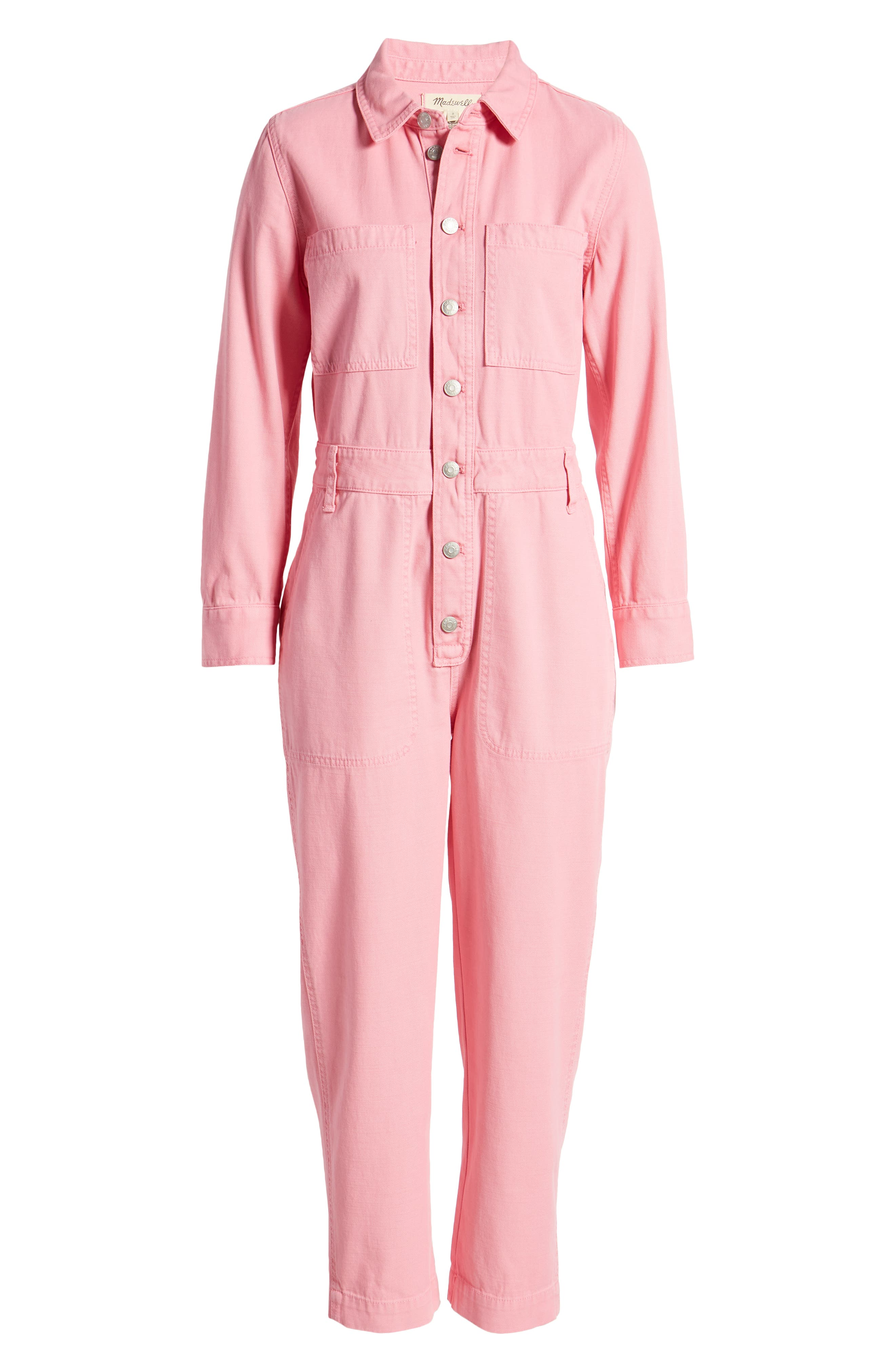 Rosie the Riveter Costume & Outfit Ideas Womens Madewell WomenS Garment Dyed Relaxed Coverall Jumpsuit Size XX-Large - Pink $148.00 AT vintagedancer.com
