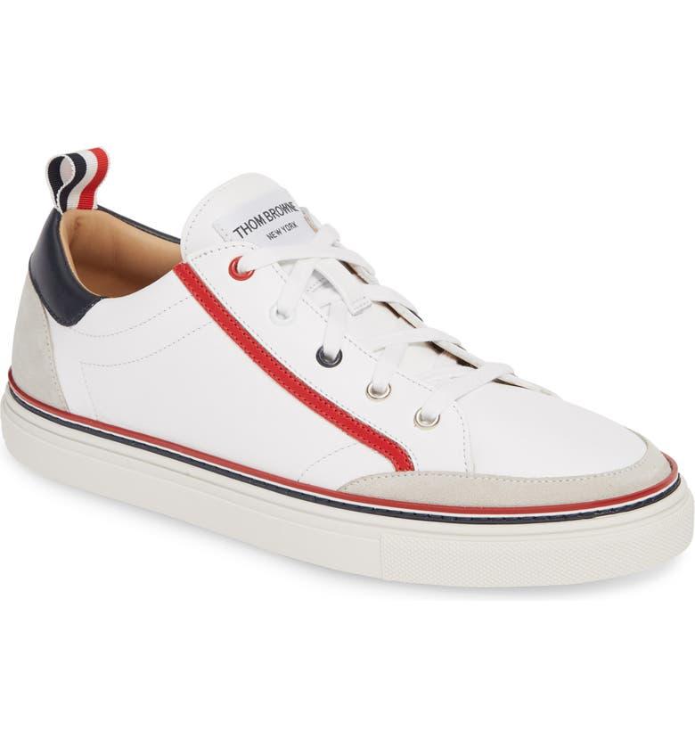 THOM BROWNE Low Top Sneaker, Main, color, WHITE