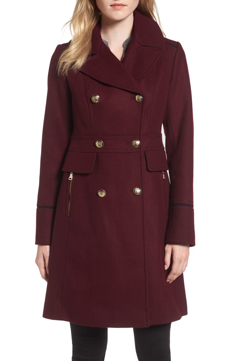 VINCE CAMUTO Wool Blend Double Breasted Officer's Coat, Main, color, 936