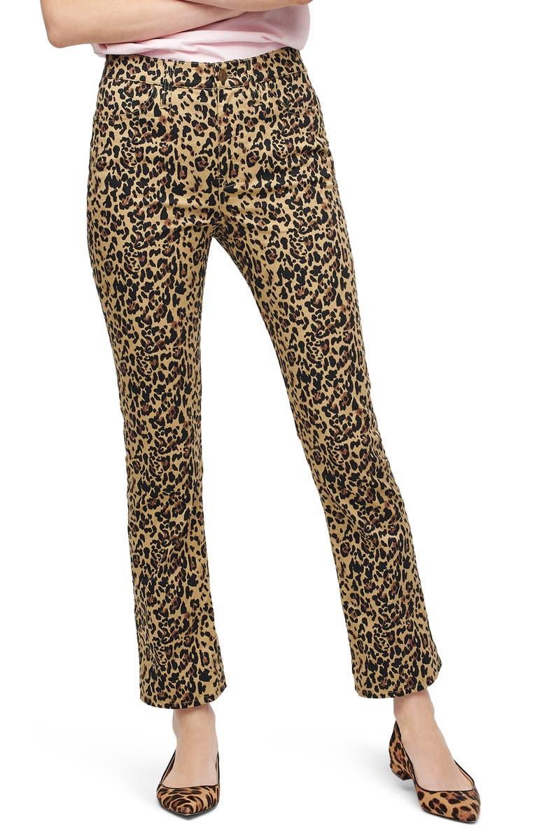 J.CREW Leopard Kickout Crop Pants, Main, color, OCELOT MULTI